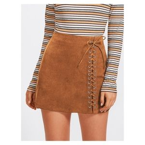 Brown Faux Suede Side Lace Up Mid Waist Mini Skirt